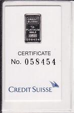 More details for 1g platinum bar – credit suisse / valcambi – liberty – one gram, 999.5 fine pure