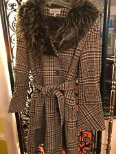 Jonathan Michael Belted Wool Winter Trench Coat Plaid Size 6 Bell Cuffs