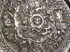 """Rare BURMESE Antique (ca 1890) Solid Sterling Repousse 12"""" Story Platter"""
