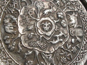 "Rare BURMESE Antique (ca 1890) Solid Sterling Repousse 12"" Story Platter"