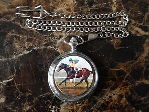 NIJINSKY RACE HORSE CHROME POCKET WATCH WITH CHAIN (NEW)