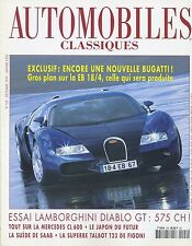 AUTOMOBILES CLASSIQUES n°103 12/1999 BUGATTI EB18/4 LAMBORGHINI DIABLO GT