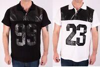 Mens Polo Shirt Tee Cotton Pu Trim High Quality  Leather Look Collar S M L XL