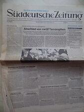 Olympia 1972 Attentat - Süddeutsche Zeitung 7. September Abschied von den Opfern