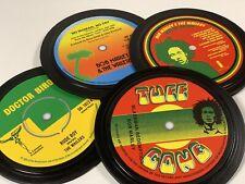 More details for bob marley. 4 vinyl record label coasters. natty dread. no woman no cry. reggae