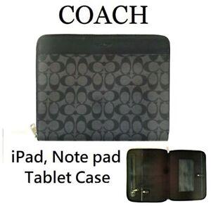 Coach Men's Tech Case Signature Canvas Charcoal Black F32654 NWT $178 Gift Bag