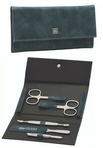 Leather Tuscany Ocean Blue 5-tlg. Manicure Case Inox