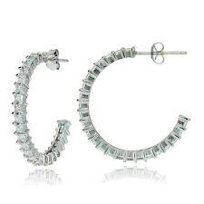 Sterling Silver Square Cubic Zirconia Half Hoop Earrings, 25mm