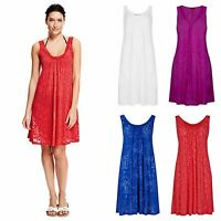 M&S Red White Pink Blue Beach Dress Mark and Spencers Burnt Out Cover Up Kaftan
