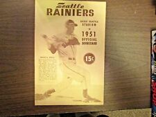 1951 Seattle Rainers Scorecard w/Roger Hornsby Manager in Excellent Condition