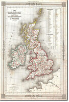 Vintage Map of United Kingdom From 1852 Print Poster Gift Old Historic UK