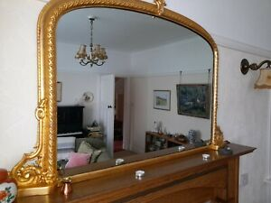 Victorian, late 1800's antique, gilt arch-top, over-mantle mirror