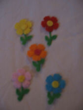 MINI FELT FLOWER WITH STEM SHAPES - SET OF FIVE - BRAND NEW