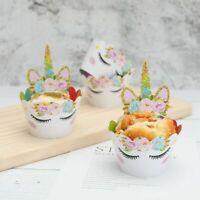 24Pcs Rainbow Unicorn Cupcake Toppers Kids Birthday Party Decorations Design
