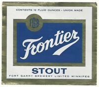 Vintage Frontier Stout 12 oz. Foil Label - Winnipeg, Alberta, Canada