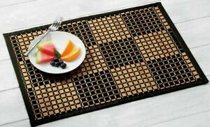 "Bamboo Black Woven Checked Placemat 13""W X 19""L SET OF 4 CHOICE OF RUNNER ALSO"
