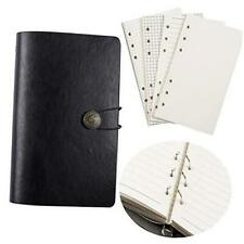 New listing A6 Pu Leather Notebook Small Binder refillable Journal -6 Ring Binder Black
