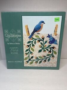Quiltscapes Puzzle 750 Pcs Bluebird On Floral Wreath, Rebecca Barker Hasbro MB
