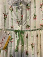 Vintage Her Majesty Girl's 2T Quilted Dress Coat Ivory w/ Pink/Green Flowers New