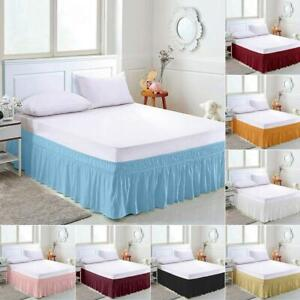 Elastic Bed Skirt Hollow Ruffle Skirt Bed Cover Valance Easy Fit Wrap Around UK