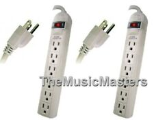 2X Surge Protection 6-Outlet POWER STRIPS 6' ft Cord Lighted ON/OFF Switch 1875W