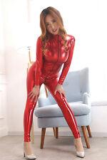 elastic spandex Zipper Latex Full Body Jumpsuit Catsuit Costume Crotch zipper