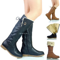 NEW WOMENS LADIES LOW HEEL MID CALF FULL Y WARM LINED LONG BOOTS SIZE 4 5 6 7