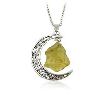 Neu Natural Quartz Crystal Point Chakra Healing Gemstone Moon Pendant Necklace