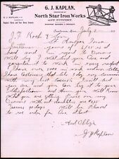 1900 Owatonna Mn - North Star Iron Works - G J Kaplan - Letter Head History Rare