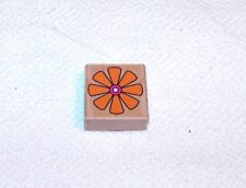 8 PETAL FLOWER WITH DOUBLE CENTER (ORANGE & PINK) WOOD MOUNTED RUBBER STAMP #4