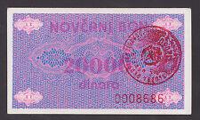 BOSNIA  20000 Dinara ND1992  UNC -  P52Ac  Handst. VITEZ   Scarce in high grade.