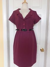 MAX AND CLEO purple shirt dress size 12 stretchy fabric