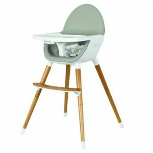 Koo-di KD430/02 Duo Wooden Highchair with Harness and Removable Tray - Grey
