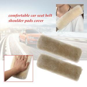 2pcs Car Wool Warm Sheepskin Seatbelt Shoulder Pad Belts Covers Elastic KIT