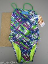 NEW* Speedo 6 32 Swimsuit RACING ATHLETIC Green Blue Dots $66 Retail