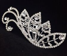 Bridal Flower Girl Floral Leaves Hair Jewelry Comb Clear Crystal Silver Tone New