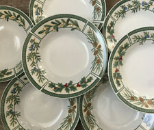 """7 Wintergreen Fairfield Christmas Holiday Rim Soup Bowls 8"""" Holly Pine Cones"""