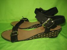 DUNE Suede  Black   Wedge Sandals  Size   5 / 38 New