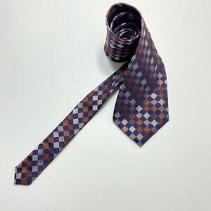 DKNY Men's 100% SILK Navy Brown Purple White Checks Necktie Tie