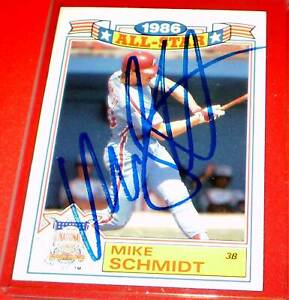 Mike Schmidt 1986 Topps All-Star Autographed Card #4    EX/NMT