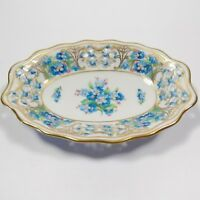 BEAUTIFUL SCHUMANN ARZBERG CHALET FORGET ME NOT PIERCED OVAL BOWL BLUE FLOWERS