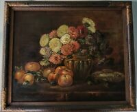 Antique Oil Painting on Canvas Still Life Flower Bouquet Fruit on Table / Framed