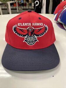 Vintage Atlanta Hawks SnapBack Cap Hat RED  Throwback NBA HAWKS LOGO FRONT