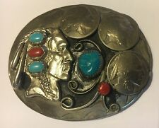 Vintage Belt Buckle 3 Indian Head Nickles Turquoise Coral 5133