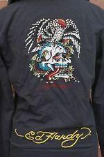 ED HARDY Hoodie Zipped Sweatshirt Jacket women's Rhinestones Gray Size S