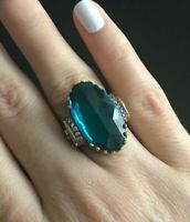 Turkish Handmade Sterling Silver 925 Aquamarine Ring Ladies 6 7 8 9 10