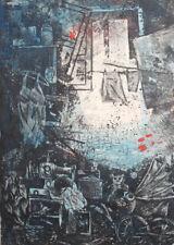 Vintage surrealist art print signed