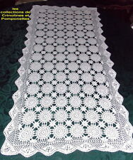 NAPPERON  CHEMIN DE TABLE CROCHET D'ART FAIT MAIN COTON BLANC RECTANGLE 55 X110