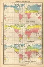Antico Mappa 1947 Bartholomew MONDO temperatura la proiezione di Galla
