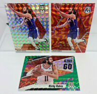 Ricky Rubio 3 Card Lot 2019-20 Mosaic Reactive Orange, Silver & Green Prizms